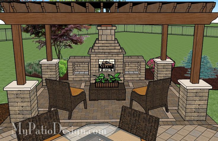 Patio With Pergola Over Fireplace Area Patio Designs And