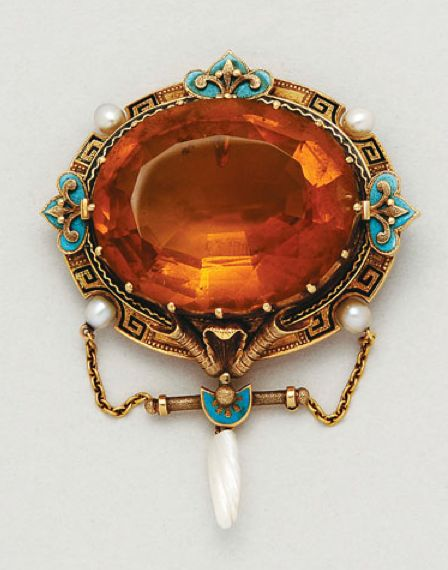 Antique Citrine, Pearl, Enamel and 18K Gold Pendant/Brooch, circa 1885  1 oval citrine of approx 37.00 cts, pearls not tested for natural, measuring 1 1/2 by 2 ins