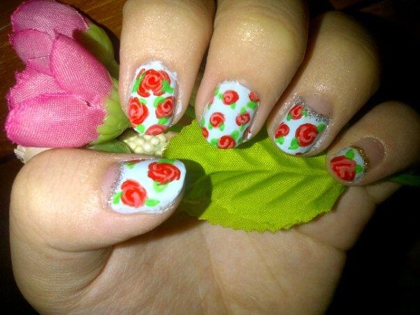 Floral nail art using acrylic paint :D