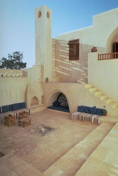 Central courtyard, which includes the traditional elements of fountain, alcove, and mashrabiyya | Archnet