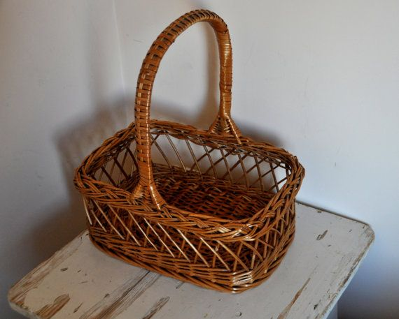 Vintage Handwoven Wicker Basket Rustic Home Decor European