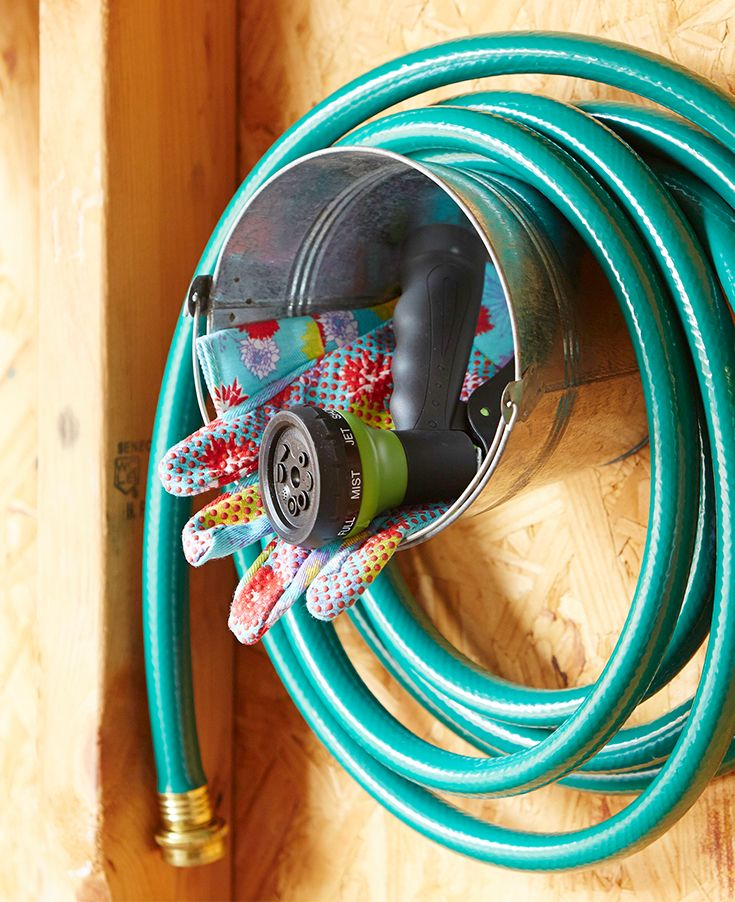 Corral that unruly garden hose with our organization ideas. See some creative ideas for making your hose a decorative part of your garden. From turning a bucket into a rustic hose holder to basic ways to hide it, it's easy to get inspired.