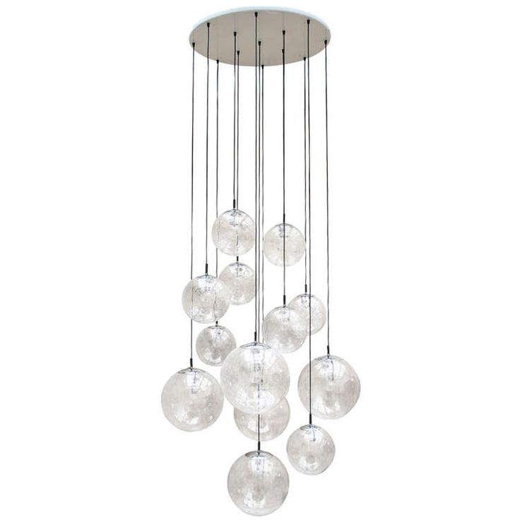 Impressive extra large glass ball chandelier by raak for Contemporary chandeliers and pendants