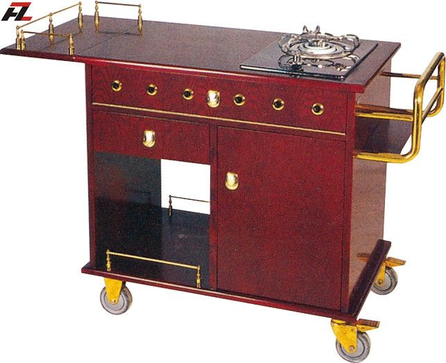 Restaurant Single Stove Kitchen Trolley-Flambe Cooking Trolley