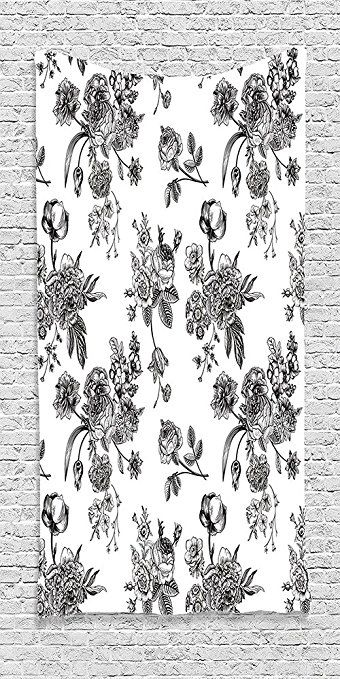 Cotton Microfiber Bathroom Towels Ultra Soft Hotel SPA Beach Pool Bath Towel House Vintage Floral Pattern Victorian Classic Royal Inspired New Modern Art Image Black and White