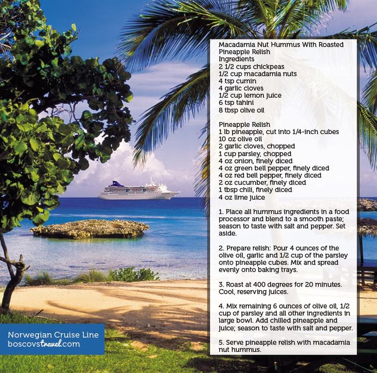 Norwegian Cruise Line Macadamia Nut Hummus with Roasted Pineapple Relish #NCL #Hummus #Recipe