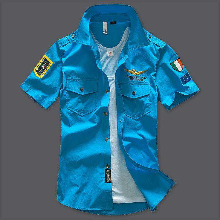 2016 air force one cotton men's Short Sleeve Shirt Army Green MA1 Shirt Mens Shirt fans embroidered half sleeve fashion shirt #Affiliate