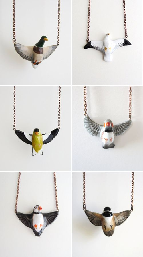 In flight bird porcelain necklace. I love these so much! Especially the Black-capped Chickadee!
