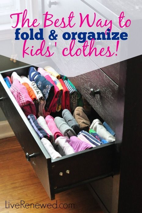 Do your kids' clothes in their dressers and closets stress you out? Check out the Best Way to fold and organize your kids' clothes! Using the KonMari folding method, at LiveRenewed.com