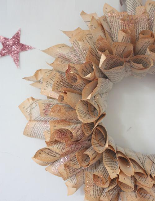 Book Page Wreath DIY