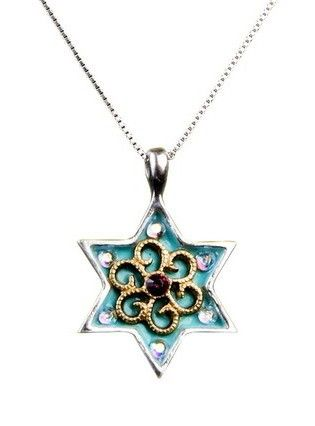 Turquoise Flower Star of David Necklace by luckyamulets on Etsy, $59.00