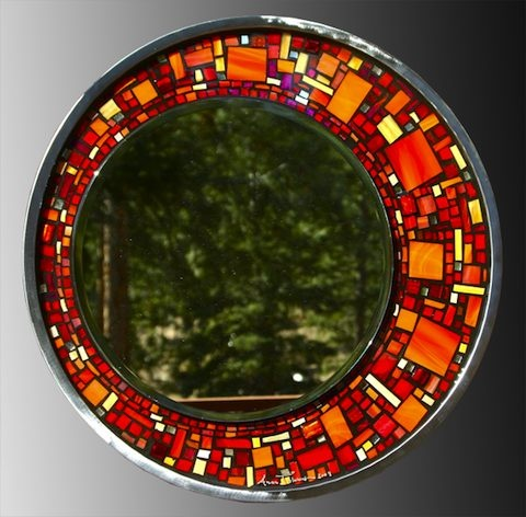 Glass mosaic mirror in red glass