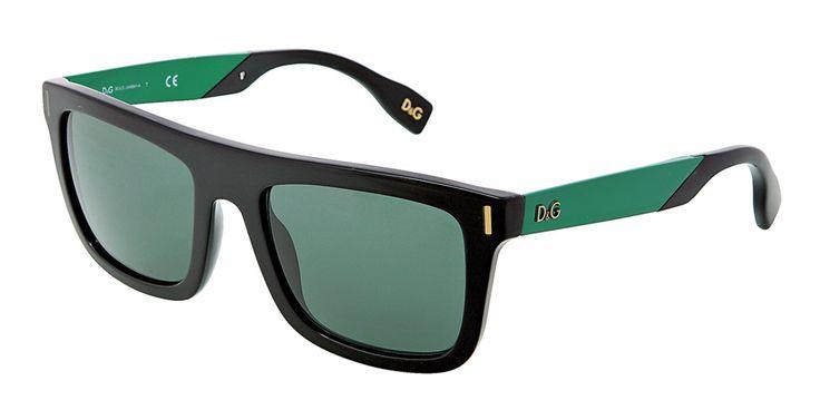 Gafas de sol de hombre Dolce & Gabbana Eyewear - Montura cuadrada negra y verde con lentes de color verde grisáceo