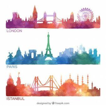 Colección horizontes de la ciudad pintadas a mano