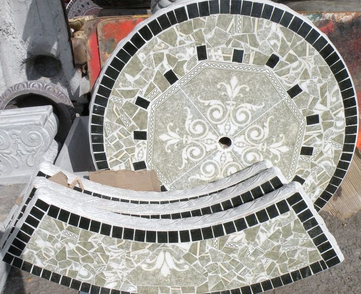 Concrete Patio Garden Table Round Tile With 3 Benches And