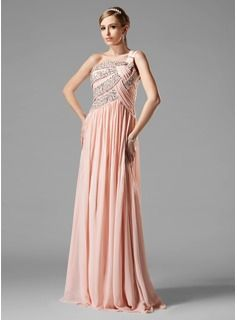 A-Line/Princess One-Shoulder Floor-Length Chiffon Prom Dress With Ruffle Beading Sequins (018004824) - JJsHouse