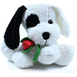 Assorted Colors Puppy Plush with Rose by Beverly Hills Teddy Bear Co.