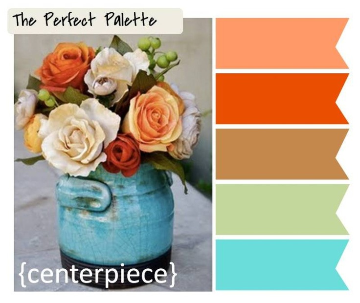 centerpiece ☛ http://su.pr/1mf1oi: Burnt Orange Brown Bedrooms, Colors Combos, Living Rooms, Perfect Palettes, Kitchens Colors, Flowers Centerpieces, Orange And Turquoise, Colors Schemes, Turquoise Colors Palettes