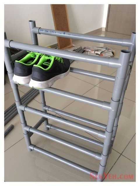 Shoe rack organizer with PVC pipe ::OrganizingMadeFun.com