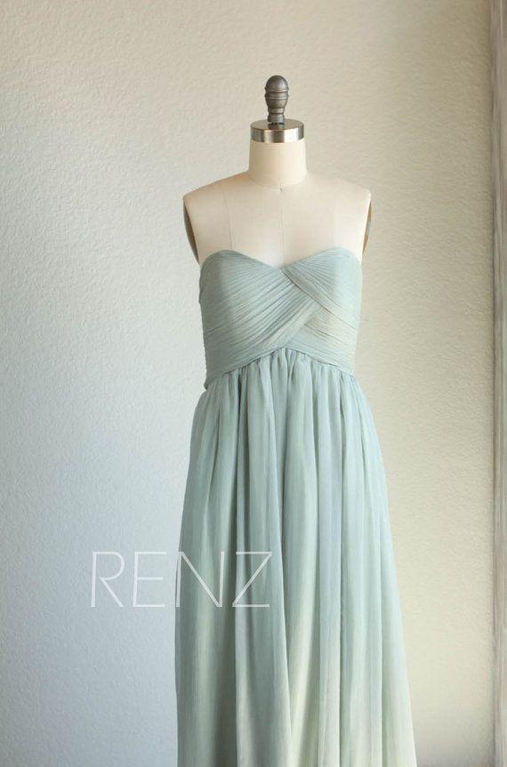 2017 Dusty Shale Bridesmaid dress Empire Wedding dress
