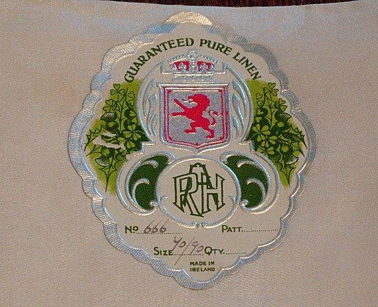 70 X90 Irish Linen Damask Tablecloth by EmsHeartAntiqueLinen
