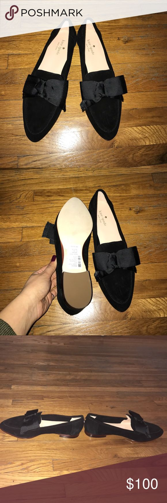 Kate Spade black suede loafers with bow. Brand new Kate Spade loafers. Black suede with black bow. Adorable!!!!! Size 8.5. kate spade Shoes Flats & Loafers