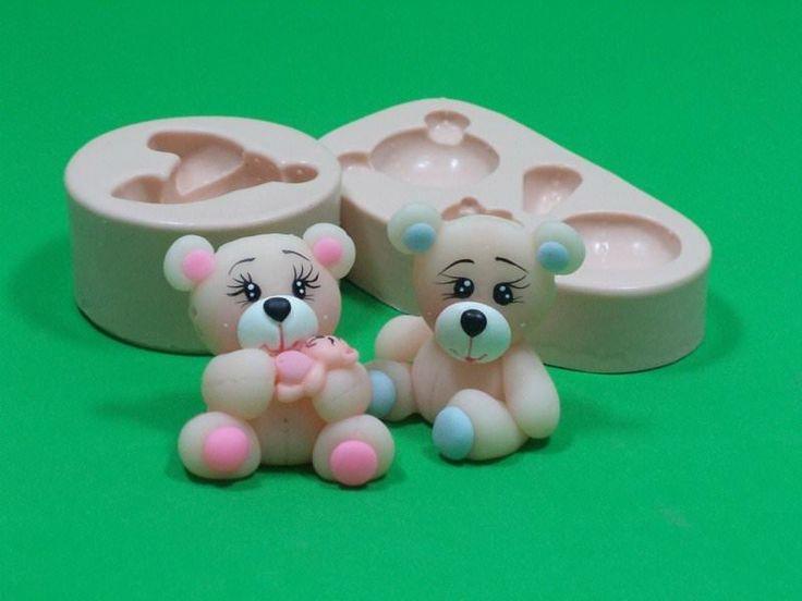 912 - Urso e Ursa 3D - Ateliê Sueli Ribas