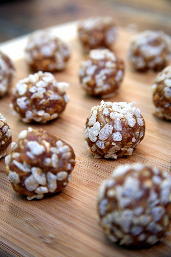 For serious cookie cravings, skip the butter and eggs, and roll up a healthier no-bake option instead. These peanut butter crisp balls are vegan. Or, if you want a fruitier flavor, try these cherry almond protein coconut balls made with cottage cheese — both are around 78 calories apiece.  Photo: Jenny Sugar