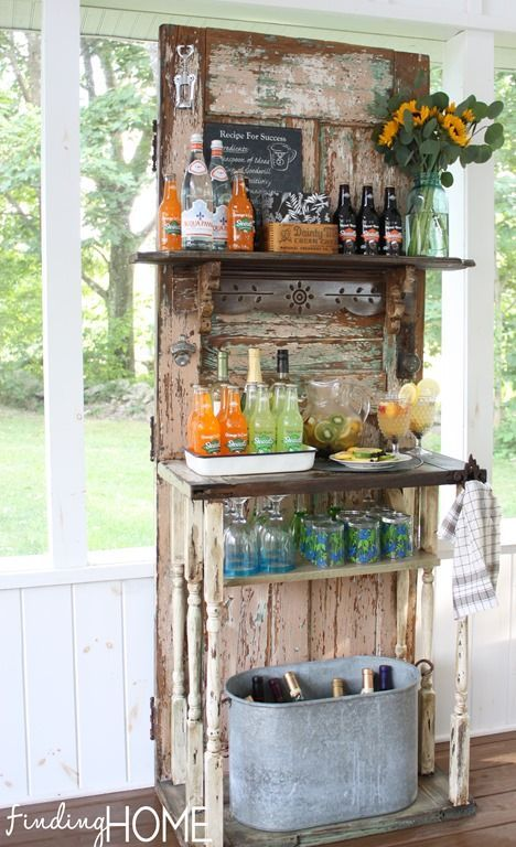 Vintage Door Beverage Bar Station~Fall/late summer outdoor beverage station from a vintage door!