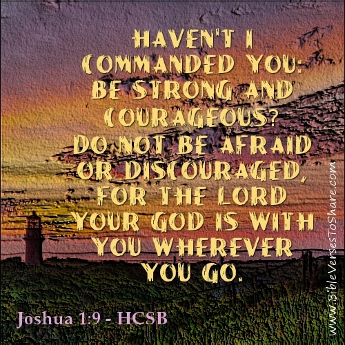 Havent I commanded you: be strong and courageous? Do not be afraid or discouraged, for the Lord your God is with you wherever you go. Joshua 1:9 (HCSB) - Bible Verses To Share #bible #verses #quotes