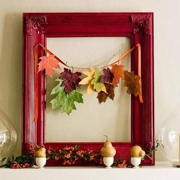 For an easy mantel display, combine brightly colored fall leaves with an empty picture frame. More on this project: http://www.midwestliving.com/homes/seasonal-decorating/easy-fall-decorating-projects/?page=33,0