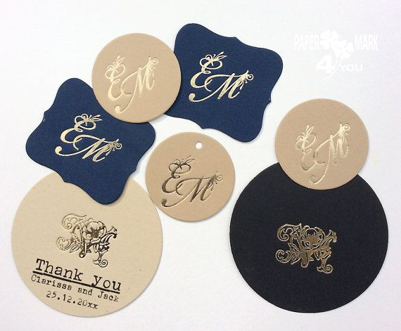 24 Gold Foil Personalized tag_ Monogram Tags_ by PaperMark4You