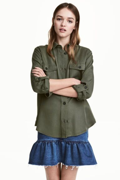 Lyocell utility shirt - Khaki green - Ladies | H&M GB