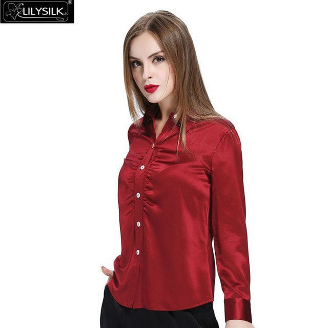 Lilysilk Silk Pure Blouse Shirt Long Sleeve Pajamas Women Female Summer  2016 Blusas Solid 22 Momme