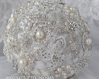 Novia ramo perlas broche blanco, ramo de la joyería de plata, bouquet de diamantes de imitación de cristal, mariposa broche Ramos, bouquet clásico.