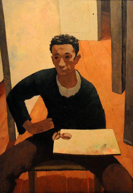 Felice Casorati (Italian, 1883-1963), A Student, c. 1910. Oil on plywood panel. Museum of Fine Arts, Boston.