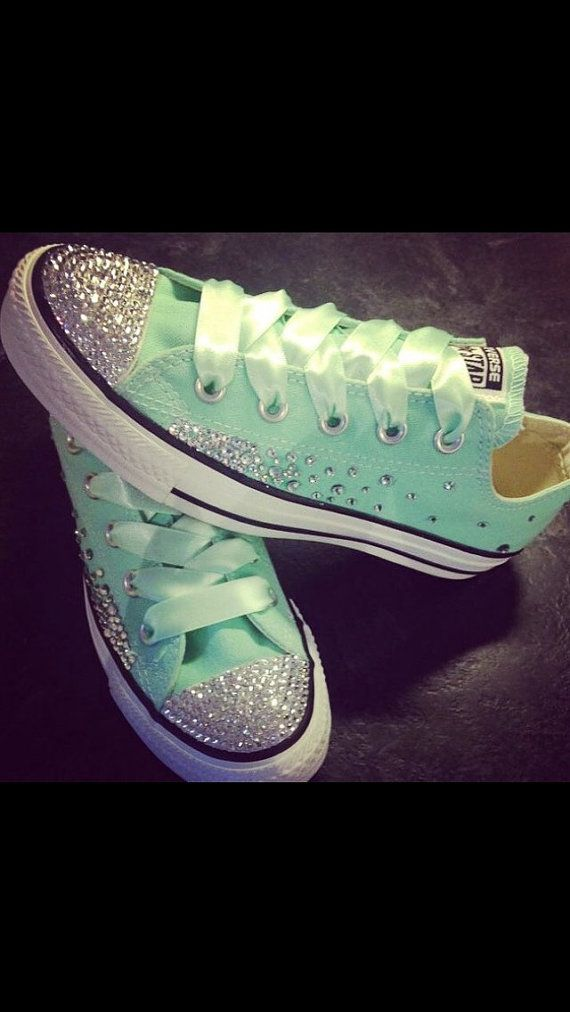Tiffany Blue Bling Womens Converse Chuck por HardinLoweBoutique