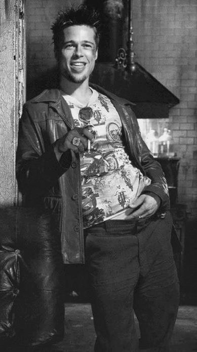 Tyler Durden - Fight Club (1999). literally obsessed with fetus brad pitt in general and his character in this movie