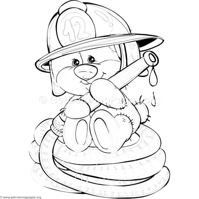 Bear Coloring Pages, Adult Coloring Pages, Coloring Books, Kids Colouring, Cartoon Drawings, Animal Drawings, Cute Drawings, Teddy Bear Template, Firefighter Drawing