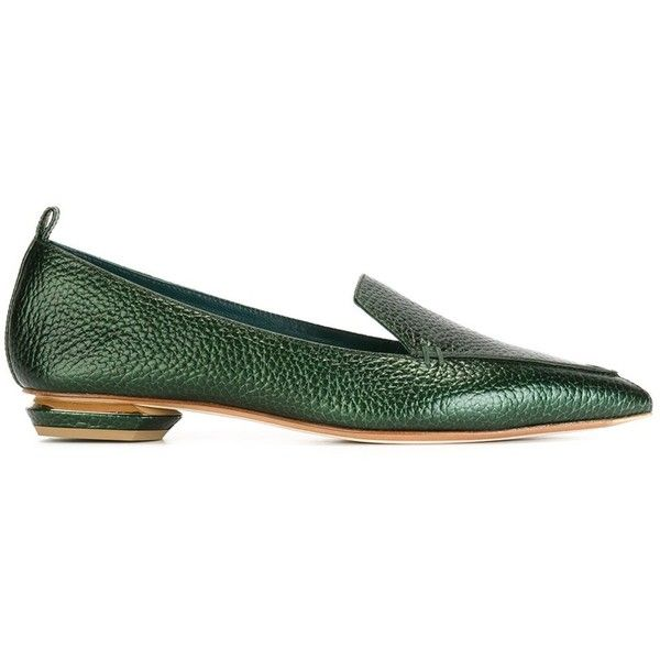 Nicholas Kirkwood 'Beya' loafers (685 BAM) ❤ liked on Polyvore featuring shoes, loafers, green, chunky loafers, green leather shoes, metallic loafers, leather shoes and metallic shoes
