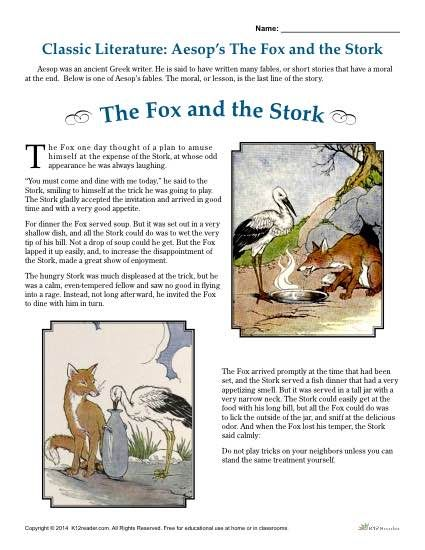 aesop 39 s the fox and the stork literature comprehension set reading comprehension activities. Black Bedroom Furniture Sets. Home Design Ideas