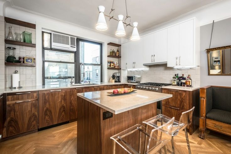 brown patterned wooden kitchen island with cream marble top and clear plastic chairs of Small and Pretty Kitchen Island Difficult to Miss