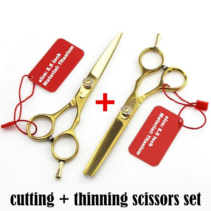 professional titanium 6.0 5.5 hair scissors thinning cutting hairdressing scissors shears scissor set styling tools Free Shiping