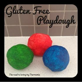 The road to loving my Thermomix: No Cook Gluten Free Playdough. Uses brown rice instead of flour