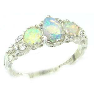 Ladies Solid White Gold Natural Fiery Opal English Victorian Trilogy Ring - Size