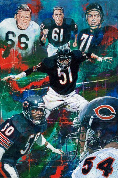 """Chicago Linebackers"" by Robert Hurst, 24″x 36″"