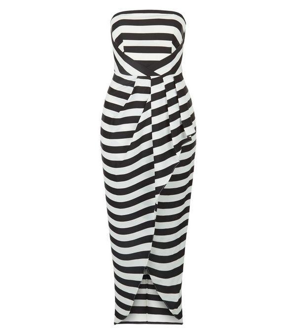 Monochrome Stripe Bandeau Wrap Front Dress | New Look
