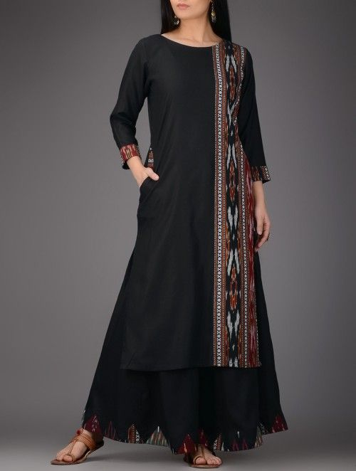 Black-Red Ikat Cotton Silk Kurta
