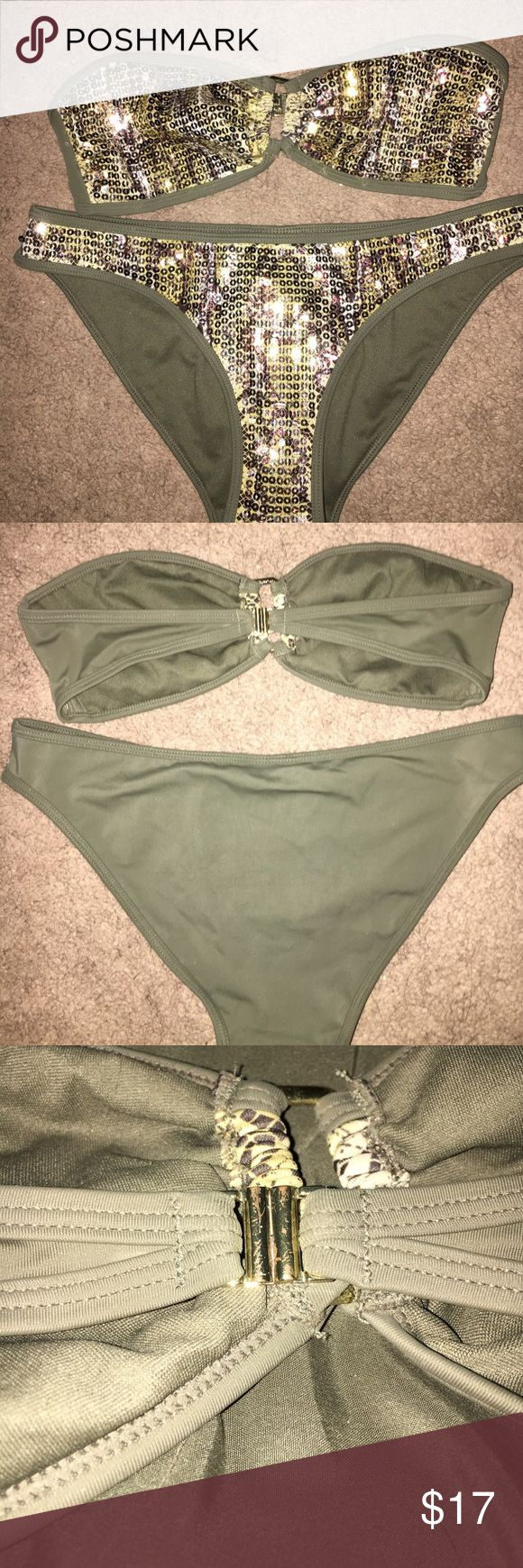 Olive Green Snake Skin Sparkly Bikini ✨ •gently worn ✨✨ back metal piece has scratches as noted in the picture; other than that there's no damage •bought full retail price •make your best offer  •bundle items for 10% discount  •thank you for looking in my closet✨ H&M Swim Bikinis