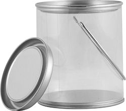 MINI CLEAR PLASTIC CAN WITH EARS, BAIL AND LID | Not designed for liquids, but is FDA approved to store food. These decorative cans are mostly used for arts, crafts, decoration, party favors, and storage. #paint #can #plastic #clear #food